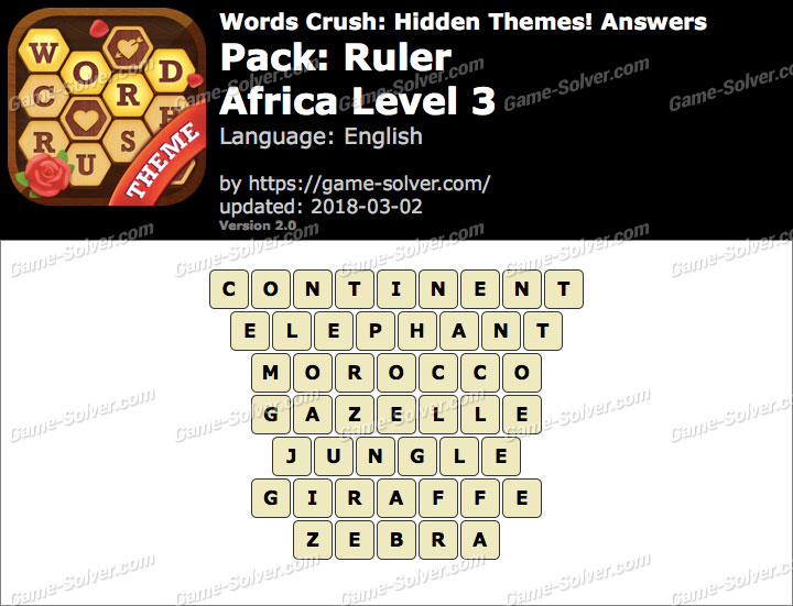 Words Crush Ruler-Africa Level 3 Answers