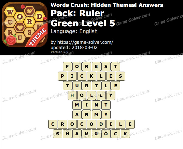 Words Crush Ruler-Green Level 5 Answers