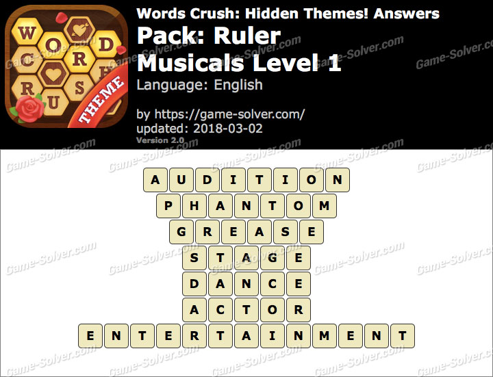 Words Crush Ruler-Musicals Level 1 Answers