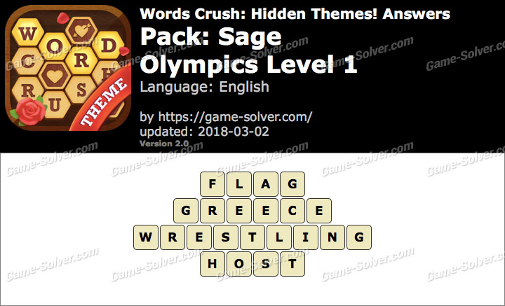 Words Crush Sage-Olympics Level 1 Answers