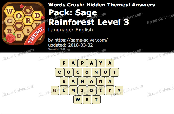 Words Crush Sage-Rainforest Level 3 Answers