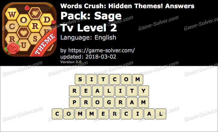 Words Crush Sage-Tv Level 2 Answers