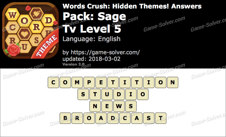 Words Crush Sage-Tv Level 5 Answers