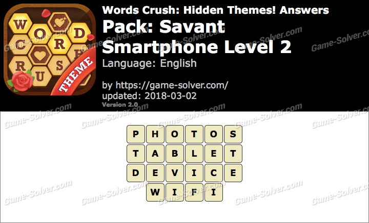 Words Crush Savant-Smartphone Level 2 Answers