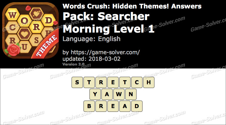 Words Crush Searcher-Morning Level 1 Answers