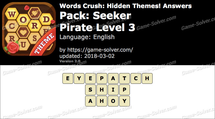 Words Crush Seeker-Pirate Level 3 Answers