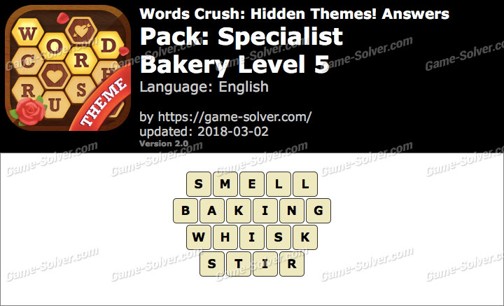Words Crush Specialist-Bakery Level 5 Answers