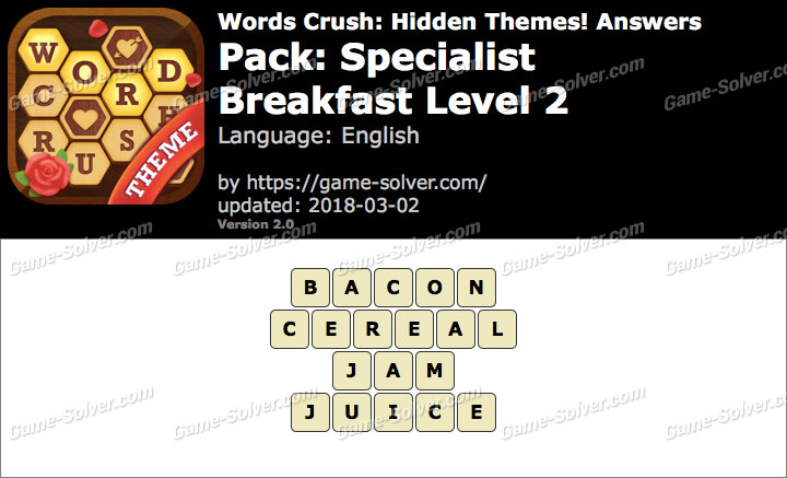 Words Crush Specialist-Breakfast Level 2 Answers