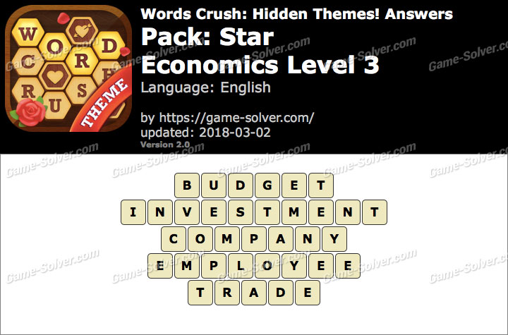 Words Crush Star-Economics Level 3 Answers
