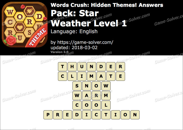 Words Crush Star-Weather Level 1 Answers