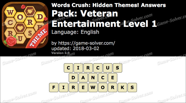Words Crush Veteran-Entertainment Level 1 Answers