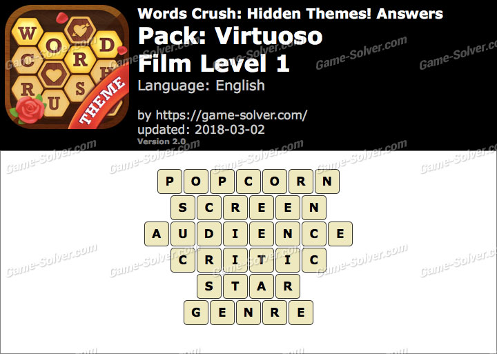 Words Crush Virtuoso-Film Level 1 Answers