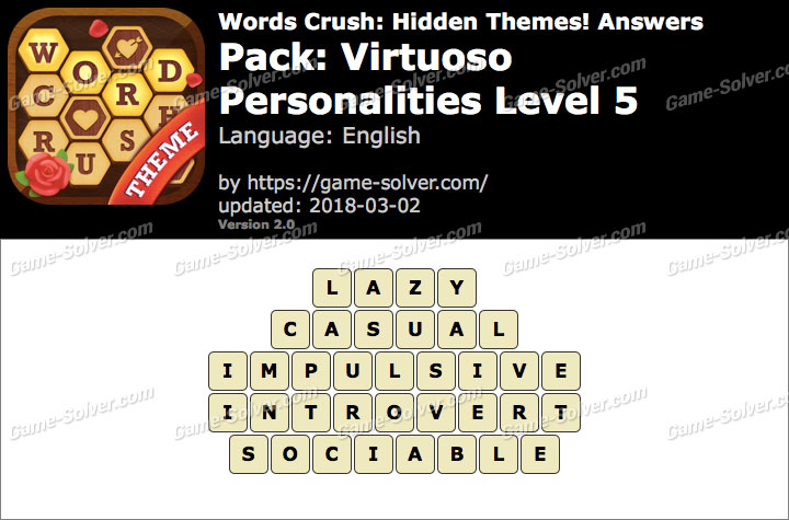 Words Crush Virtuoso-Personalities Level 5 Answers