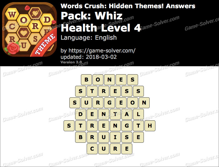 Words Crush Whiz-Health Level 4 Answers