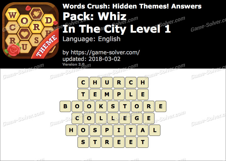 Words Crush Whiz-In The City Level 1 Answers