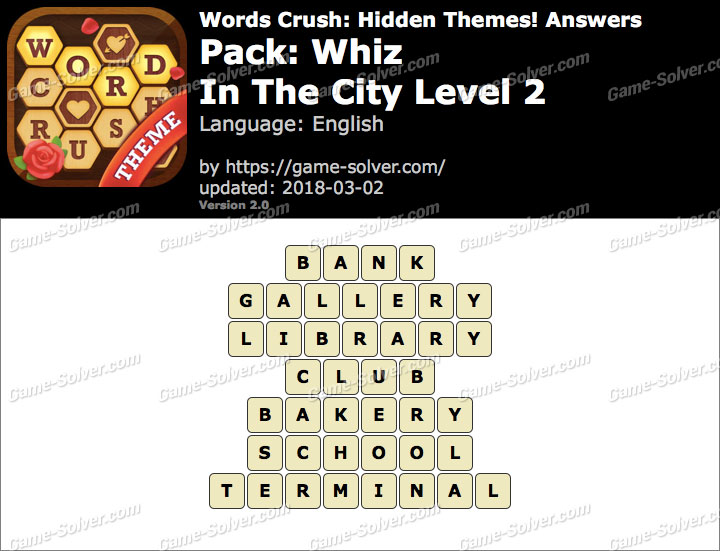 Words Crush Whiz-In The City Level 2 Answers