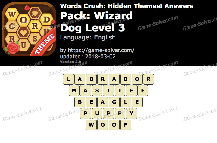 Words Crush Wizard-Dog Level 3 Answers