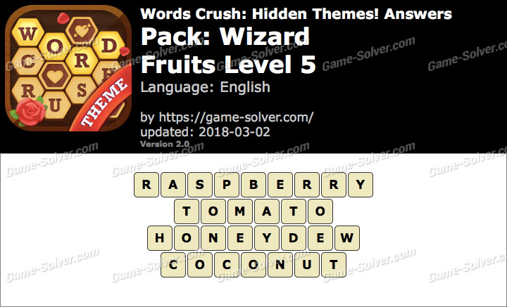 Words Crush Wizard-Fruits Level 5 Answers