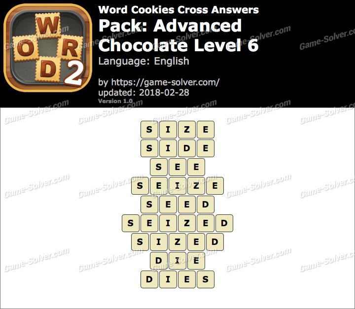 Word Cookies Cross Advanced-Chocolate Level 6 Answers
