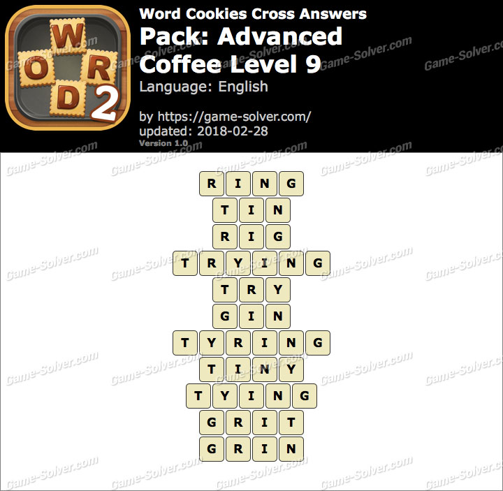 Word Cookies Cross Advanced-Coffee Level 9 Answers