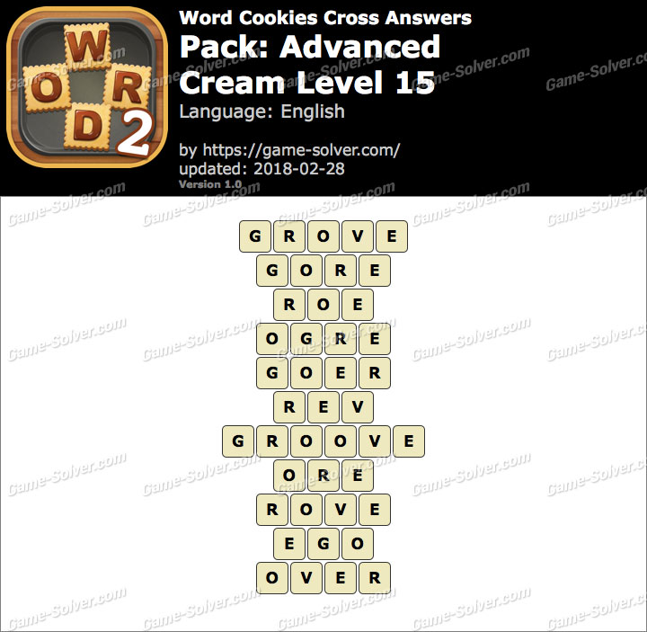 Word Cookies Cross Advanced-Cream Level 15 Answers