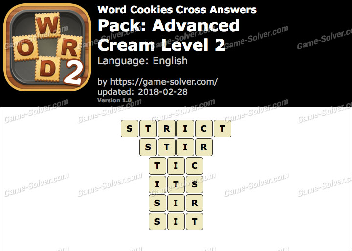 Word Cookies Cross Advanced-Cream Level 2 Answers