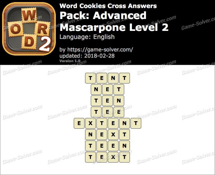 Word Cookies Cross Advanced-Mascarpone Level 2 Answers