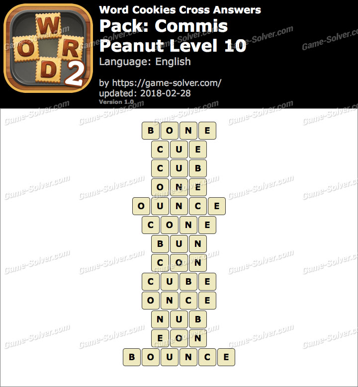 Word Cookies Cross Commis-Peanut Level 10 Answers
