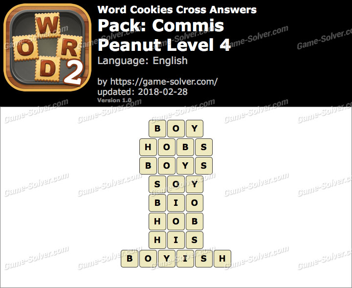 Word Cookies Cross Commis-Peanut Level 4 Answers