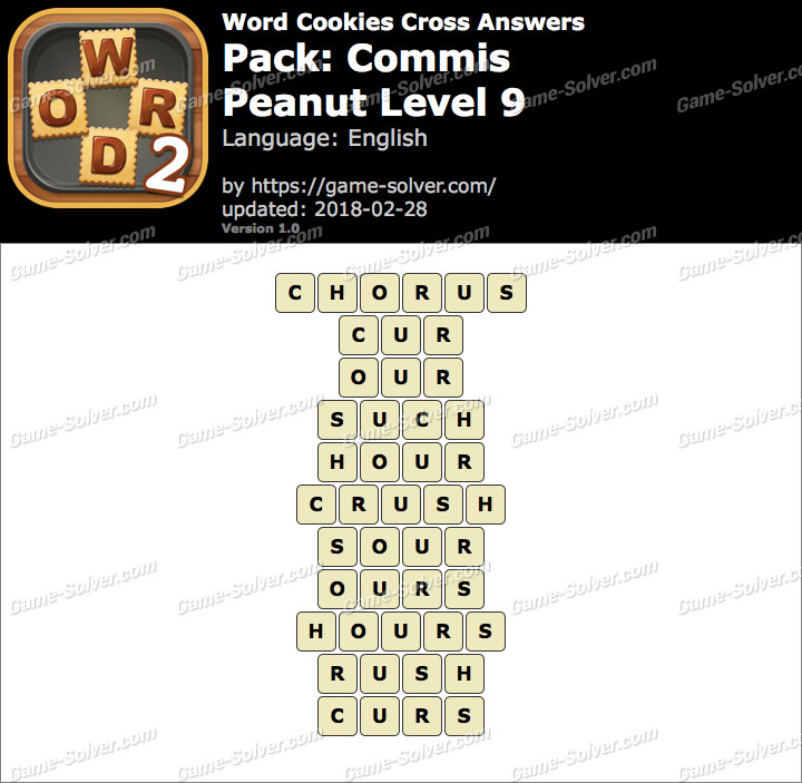 Word Cookies Cross Commis-Peanut Level 9 Answers