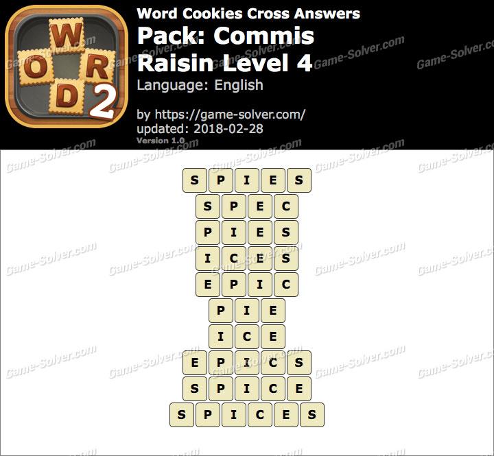 Word Cookies Cross Commis-Raisin Level 4 Answers