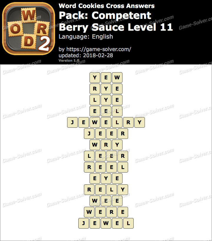 Word Cookies Cross Competent-Berry Sauce Level 11 Answers