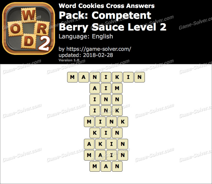 Word Cookies Cross Competent-Berry Sauce Level 2 Answers