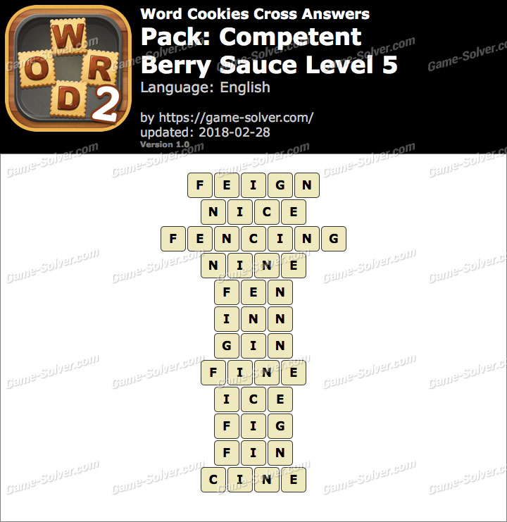 Word Cookies Cross Competent-Berry Sauce Level 5 Answers