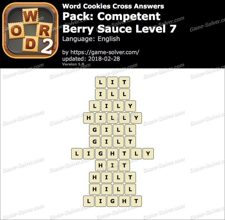 Word Cookies Cross Competent-Berry Sauce Level 7 Answers