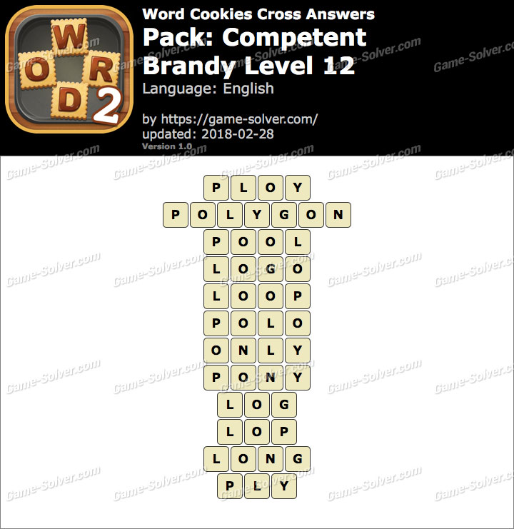 Word Cookies Cross Competent-Brandy Level 12 Answers
