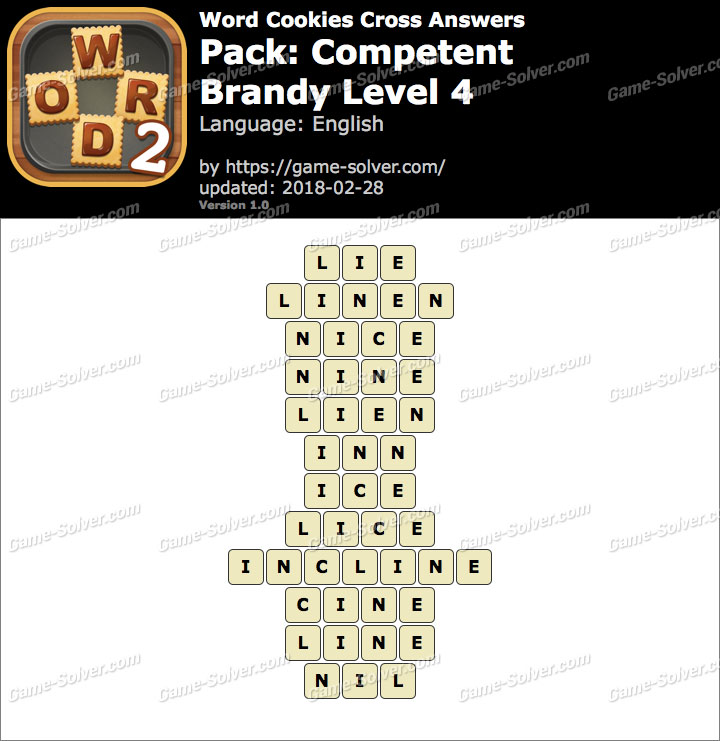 Word Cookies Cross Competent-Brandy Level 4 Answers