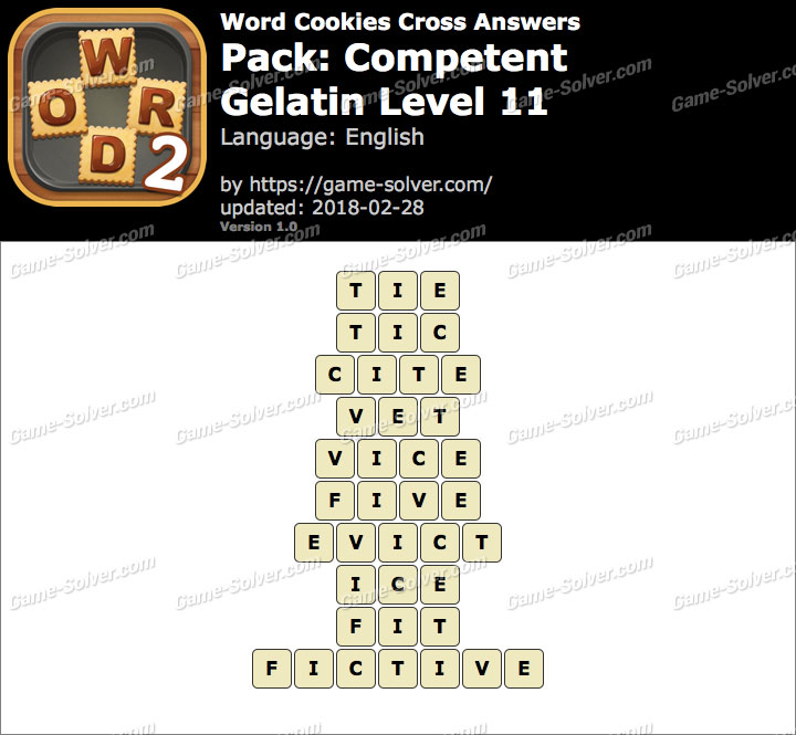 Word Cookies Cross Competent-Gelatin Level 11 Answers