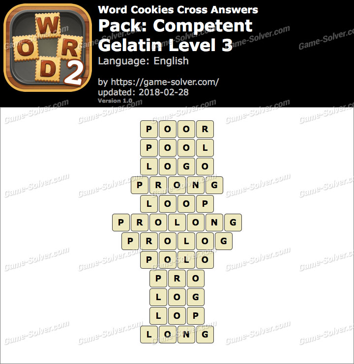 Word Cookies Cross Competent-Gelatin Level 3 Answers