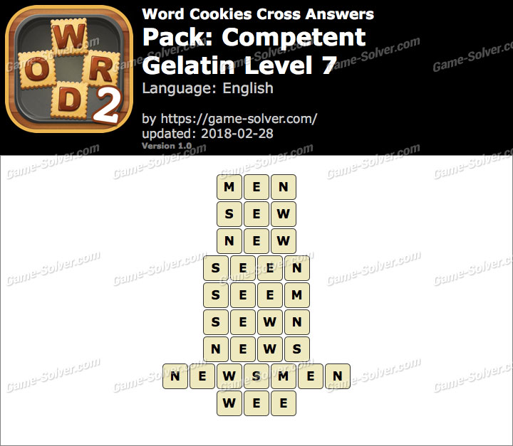 Word Cookies Cross Competent-Gelatin Level 7 Answers