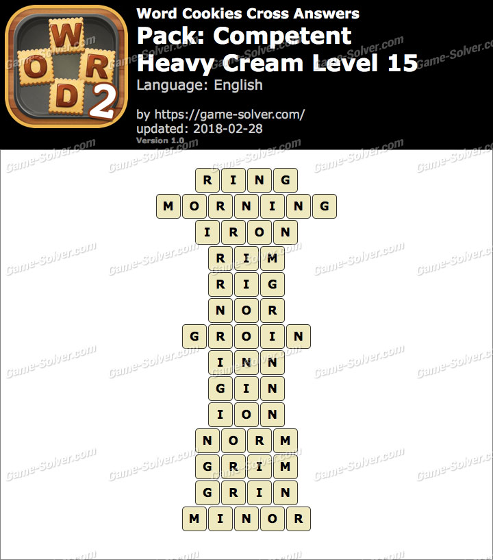 Word Cookies Cross Competent-Heavy Cream Level 15 Answers