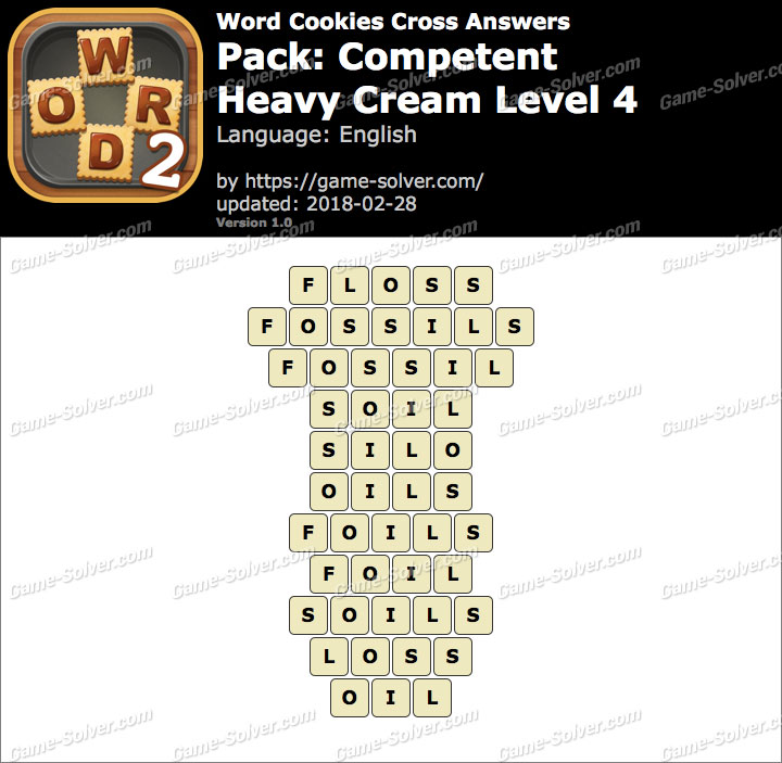 Word Cookies Cross Competent-Heavy Cream Level 4 Answers