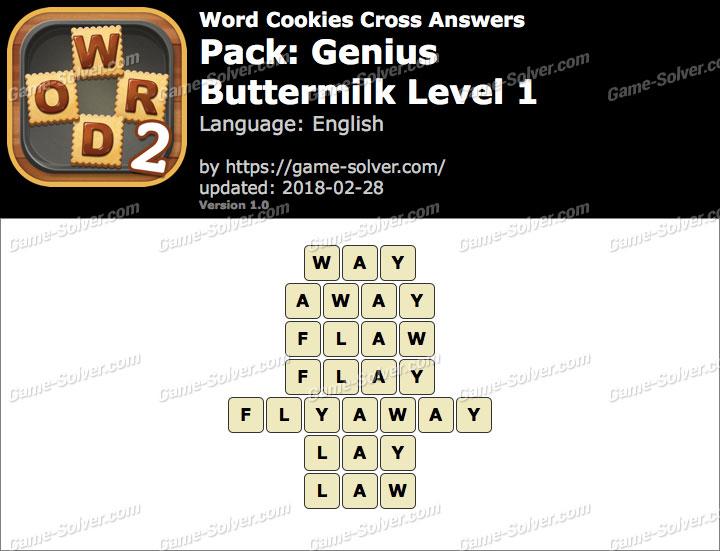 Word Cookies Cross Genius-Buttermilk Level 1 Answers