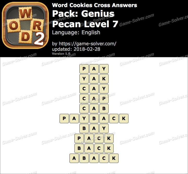 Word Cookies Cross Genius-Pecan Level 7 Answers