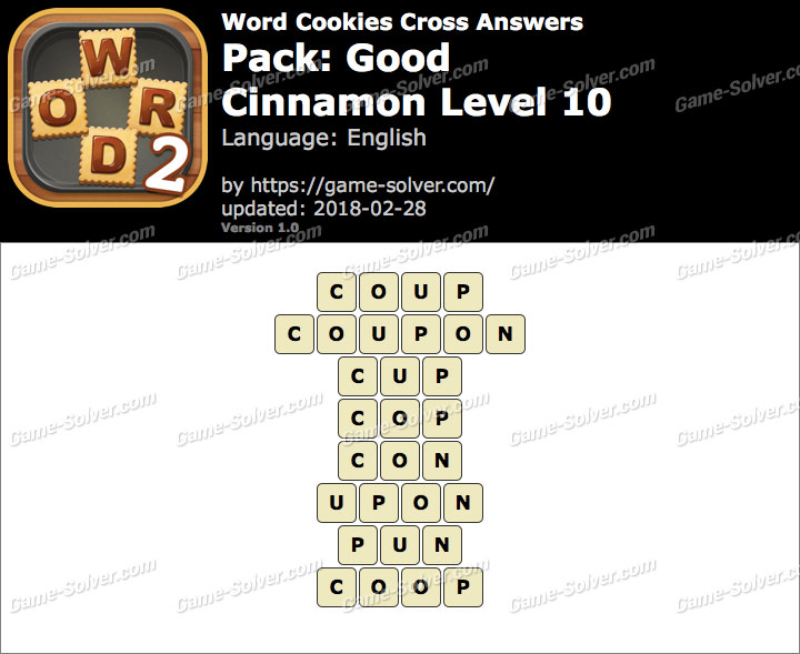 Word Cookies Cross Good-Cinnamon Level 10 Answers