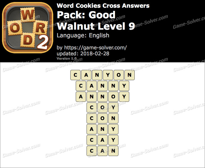 Word Cookies Cross Good-Walnut Level 9 Answers