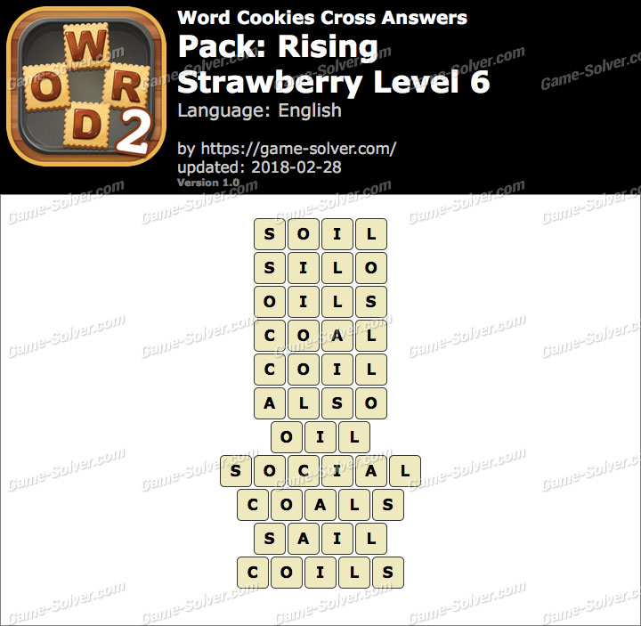 Word Cookies Cross Rising-Strawberry Level 6 Answers