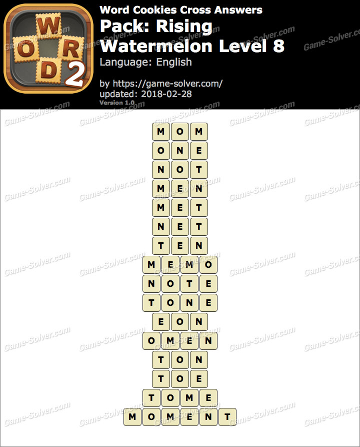 Word Cookies Cross Rising-Watermelon Level 8 Answers