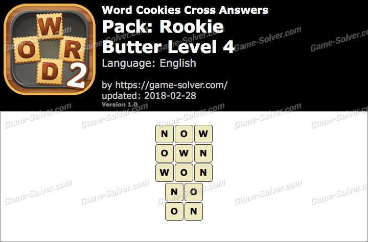 Word Cookies Cross Rookie-Butter Level 4 Answers