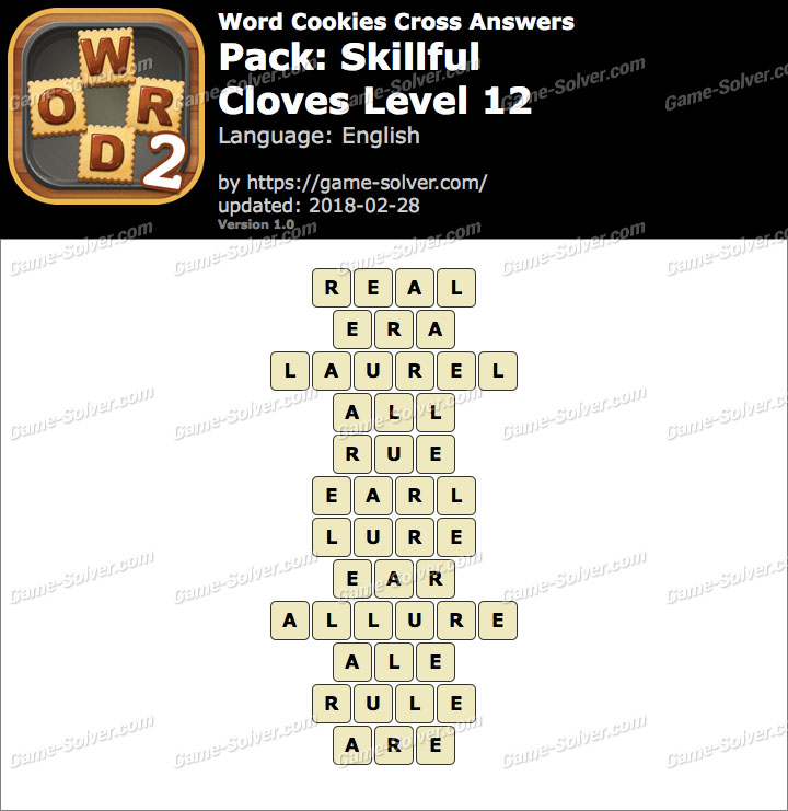 Word Cookies Cross Skillful-Cloves Level 12 Answers